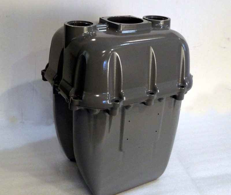 Automobile part with powder coating