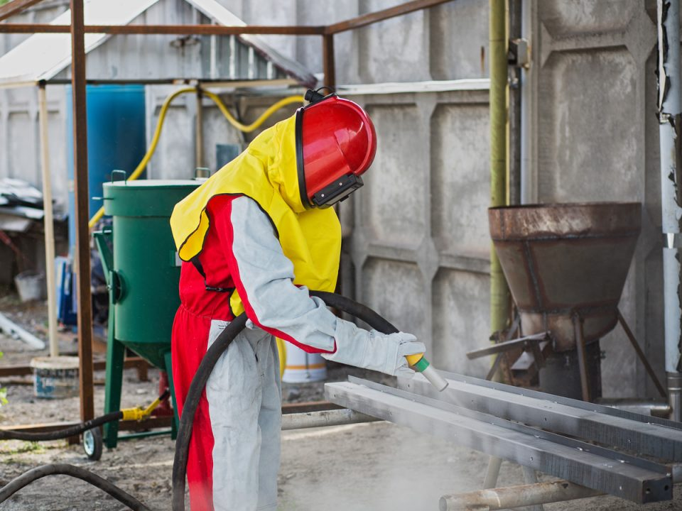 Sandblasting, surface preparation for powder coating